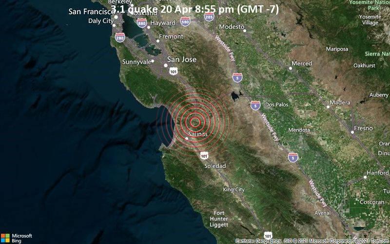 Leichtes Erdbeben der Stärke 3.1 - San Benito County, 19 km nordöstlich von Salinas, Monterey County, Kalifornien, USA, am Dienstag, 20. Apr 2021 um 20:55 Lokalzeit