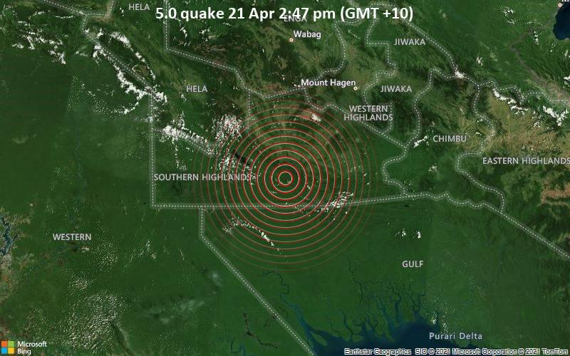 5.0 quake 21 Apr 2:47 pm (GMT +10)