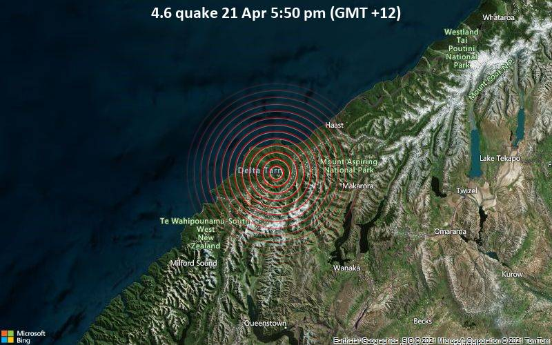 4,6 gempa 21 April 17:50 (GMT +12)