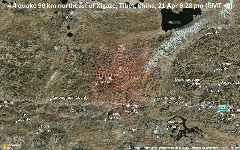 4,4 gempa bumi 90 km timur laut Xigaze, Tibet, Cina, 21 April 21:28 (GMT +8)