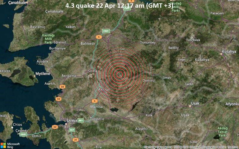 4.3 gempa bumi 22 April 12:17 (GMT +3)