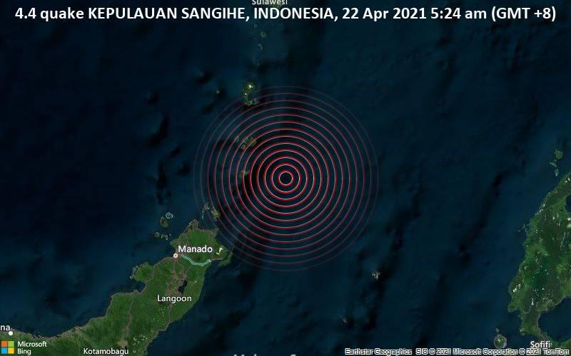 4.4 quake KEPULAUAN SANGIHE, INDONESIA, 22 Apr 2021 5:24 am (GMT +8)