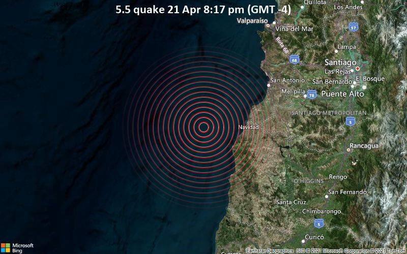 5.5 quake 21 Apr 8:17 pm (GMT -4)