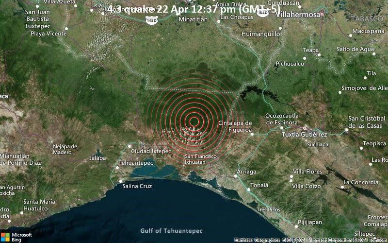 Leichtes Erdbeben der Stärke 4.3 - 63 km Al NORESTE De UNION HIDALGO, OAX, Mexico, am Donnerstag, 22. Apr 2021 um 12:37 Lokalzeit