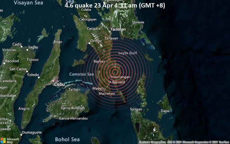 Moderates Erdbeben der Stärke 4.6 - Southern Leyte, 31 km südlich von Abuyog, Philippinen, am Freitag, 23. Apr 2021 um 04:31 Lokalzeit