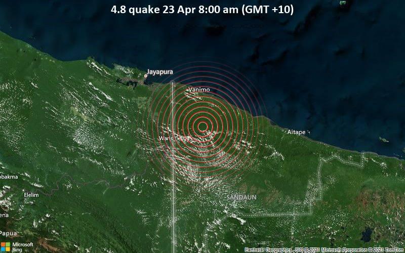 Moderates Erdbeben der Stärke 4.8 - 44 km südlich von Vanimo, West Sepik Province, Papua-Neuguinea, am Donnerstag, 22. Apr 2021 um 22:00 GMT