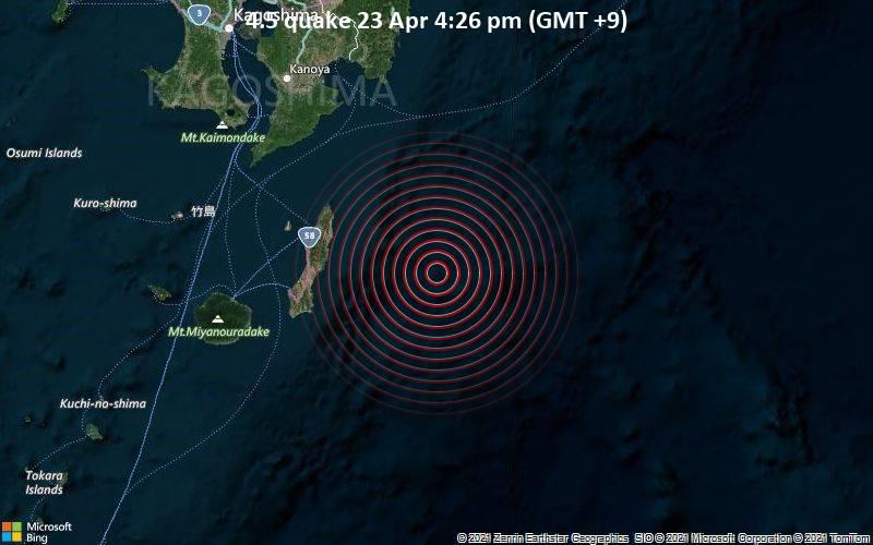 4.5 quake 23 Apr 4:26 pm (GMT +9)