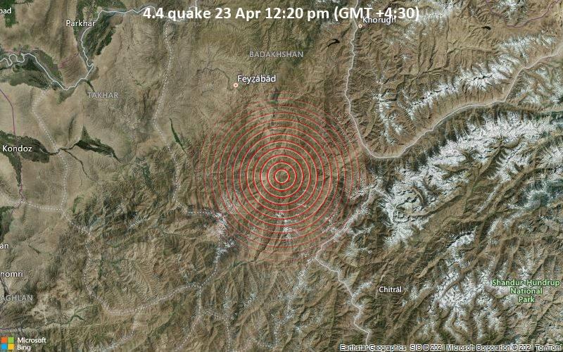 4.4 quake 23 Apr 12:20 pm (GMT +4:30)