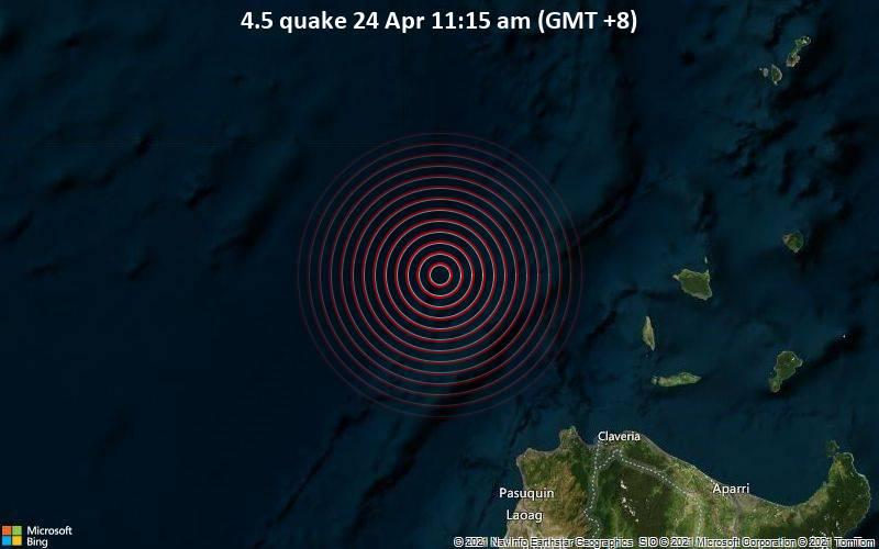 4.5 quake 24 Apr 11:15 am (GMT +8)