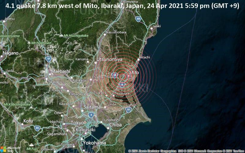 4.1 quake 7.8 km west of Mito, Ibaraki, Japan, 24 Apr 2021 5:59 pm (GMT +9)