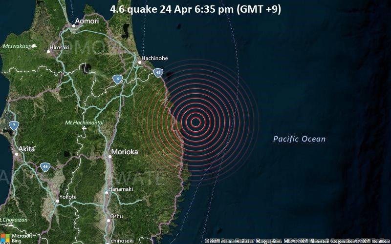 4.6 quake 24 Apr 6:35 pm (GMT +9)