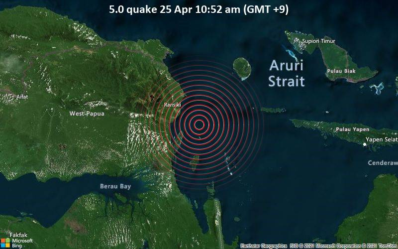 5.0 gempa 25 April, 10:52 (GMT +9)