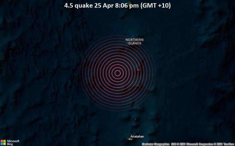 4.5 quake 25 Apr 8:06 pm (GMT +10)