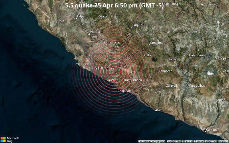 5.5 quake 25 Apr 6:50 pm (GMT -5)