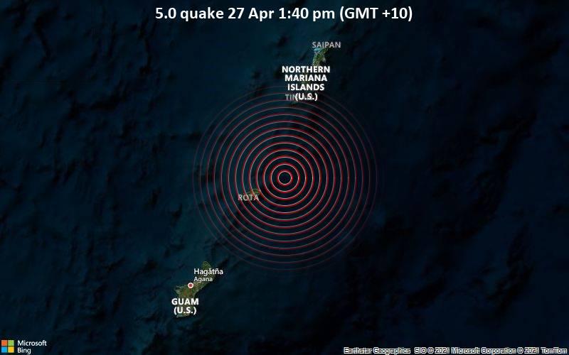 5.0 Gempa 27 Apr 1:40 sore (GMT +10)