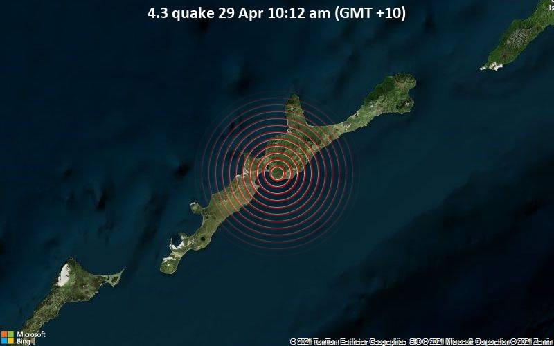 4.3 quake 29 Apr 10:12 am (GMT +10)