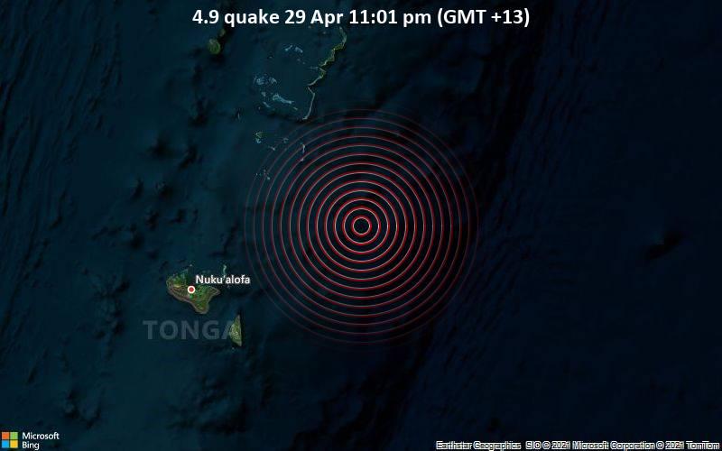 Terremoto de magnitud 4.9 (11:01 am del 29 de abril) (GMT + 13)