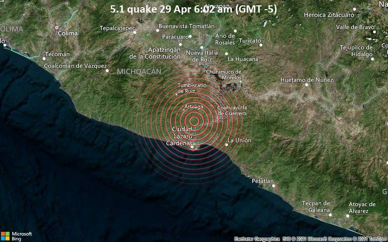 5.1 terremoto (6:02 am del 29 de abril) (GMT -5)