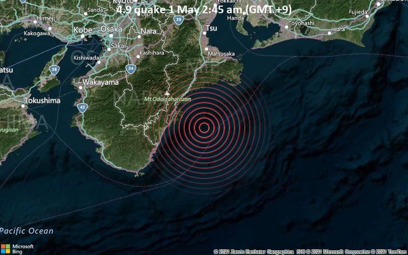 4.9 quake 1 May 2:45 am (GMT +9)