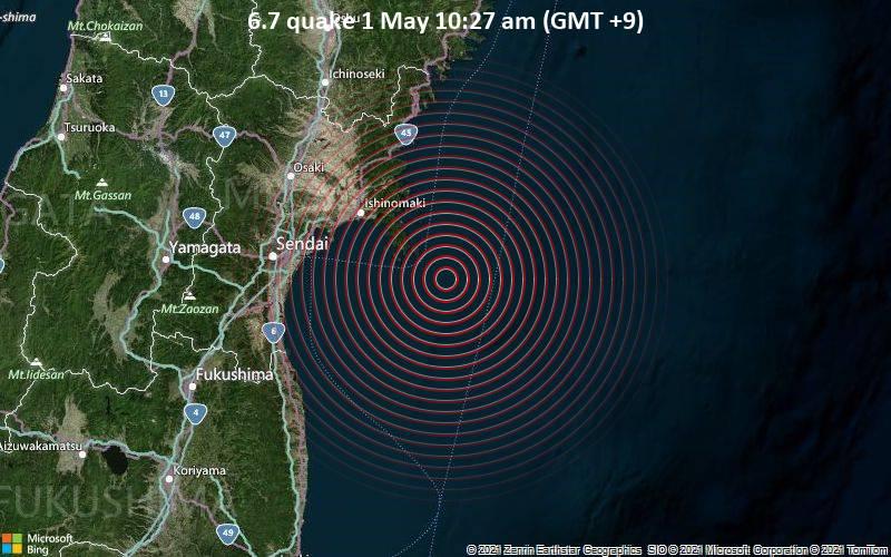 6.7 quake 1 May 10:27 am (GMT +9)