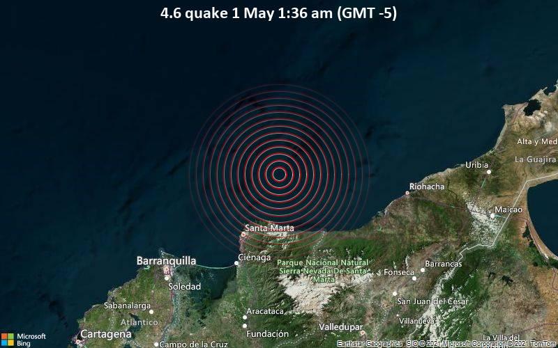 4,6 gempa bumi 1 Mei 01:36 (GMT -5)