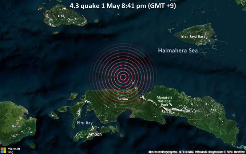 4.3 Gempa 1 Mei 8:41 malam (GMT +9)