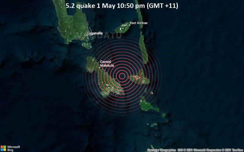 5.2 Gempa bumi 1 Mei 10:50 malam (GMT +11)