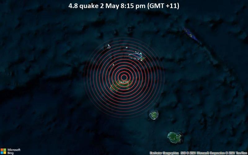 4.8 quake 2 May 8:15 pm (GMT +11)