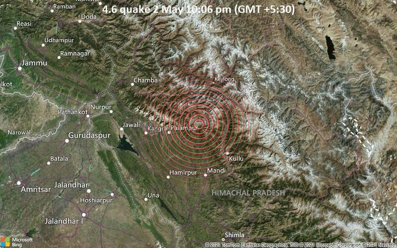 4.6 quake 2 May 10:06 pm (GMT +5:30)