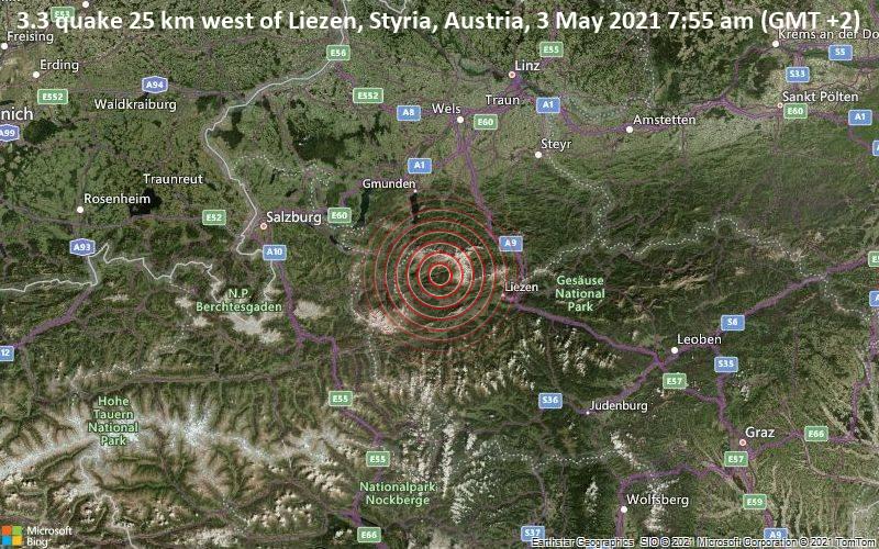 3.3 quake 25 km west of Liezen, Styria, Austria, 3 May 2021 7:55 am (GMT +2)