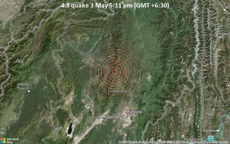 Gempa 4.3 pada 3 Mei, 17:11 (GMT + 6:30)