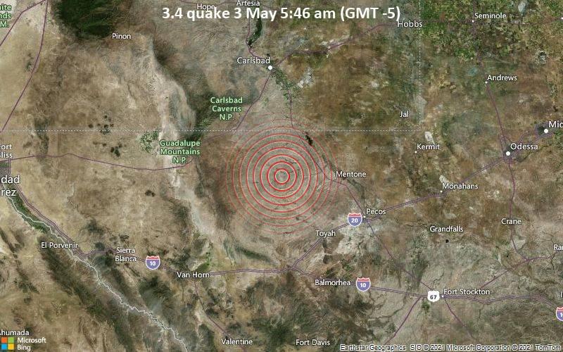3.4 gempa pada tanggal 3 Mei 5:46 pagi (GMT -5)