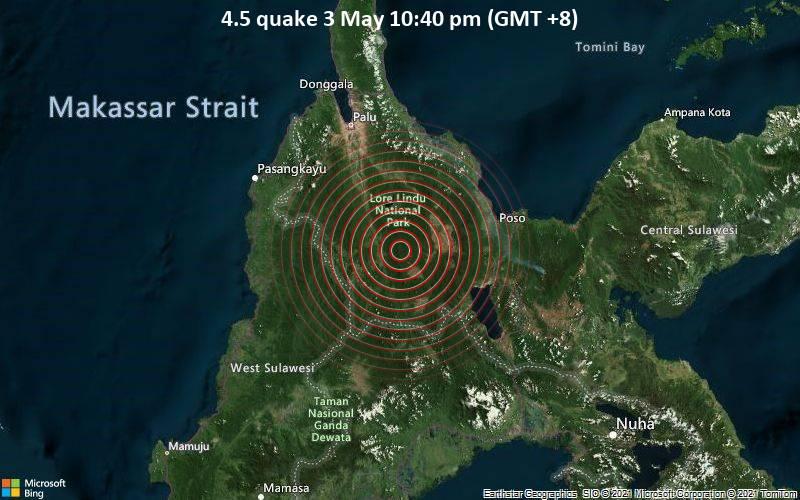 Moderates Erdbeben der Stärke 4.5 - 80 km südlich von Palu, Sulawesi Tengah, Indonesien, am Montag,  3. Mai 2021 um 14:40 GMT