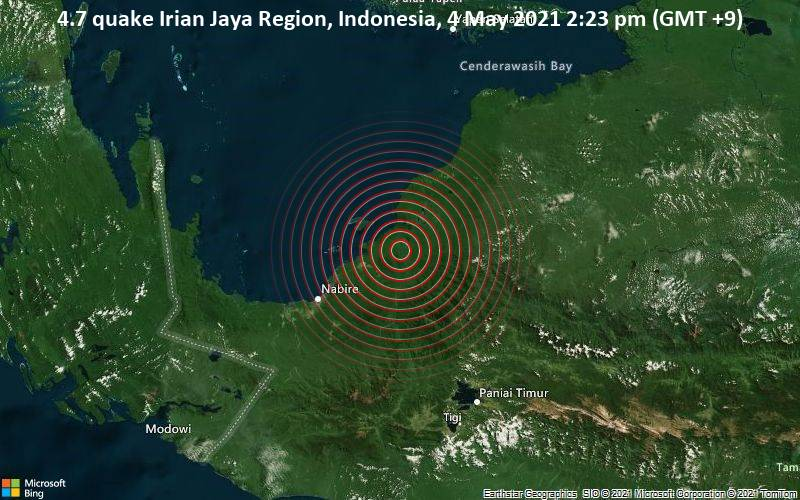4.7 quake Irian Jaya Region, Indonesia, 4 May 2021 2:23 pm (GMT +9)