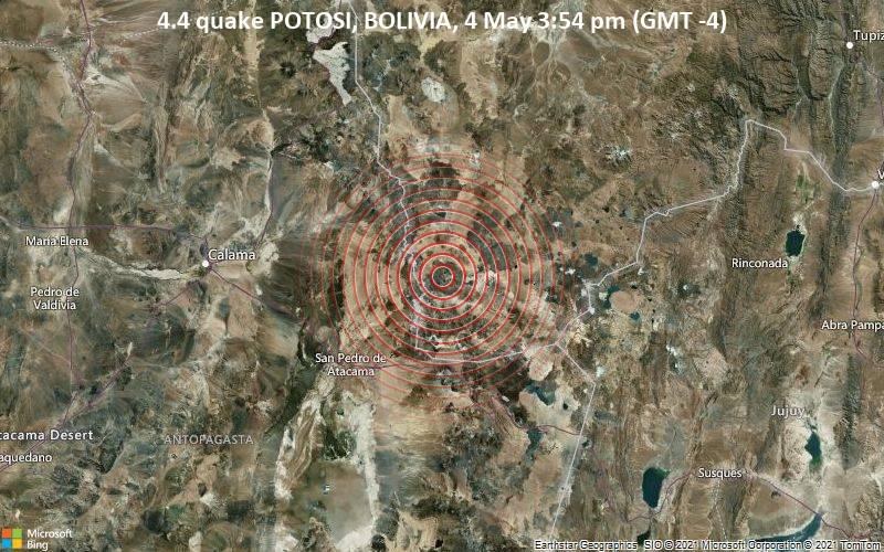 4.4 quake POTOSI, BOLIVIA, 4 May 3:54 pm (GMT -4)