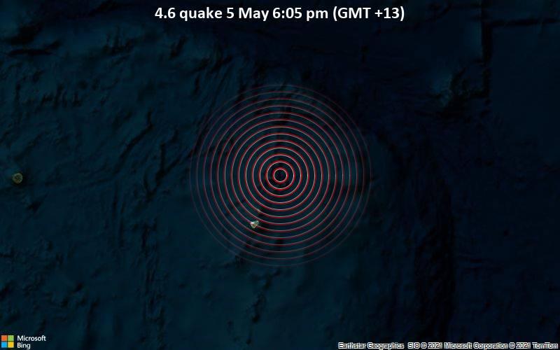 4.6 quake 5 May 6:05 pm (GMT +13)