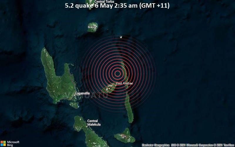 5.2 quake 6 May 2:35 am (GMT +11)