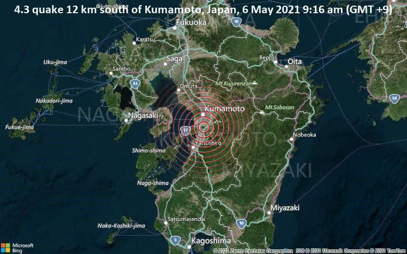 4.3 quake 12 km south of Kumamoto, Japan, 6 May 2021 9:16 am (GMT +9)