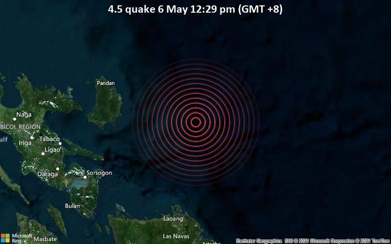 4.5 quake 6 May 12:29 pm (GMT +8)