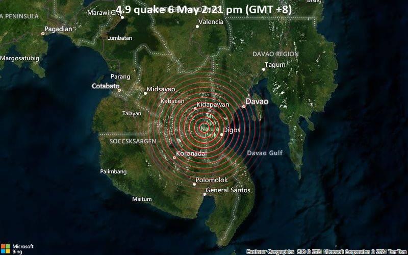 4.9 quake 6 May 2:21 pm (GMT +8)
