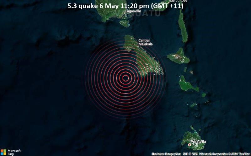 5.3 quake 6 May 11:20 pm (GMT +11)