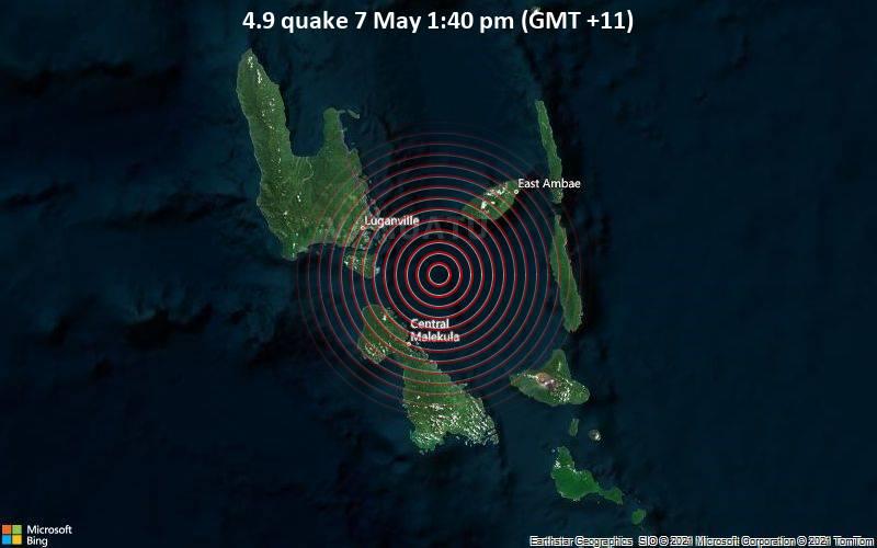 4.9 quake 7 May 1:40 pm (GMT +11)