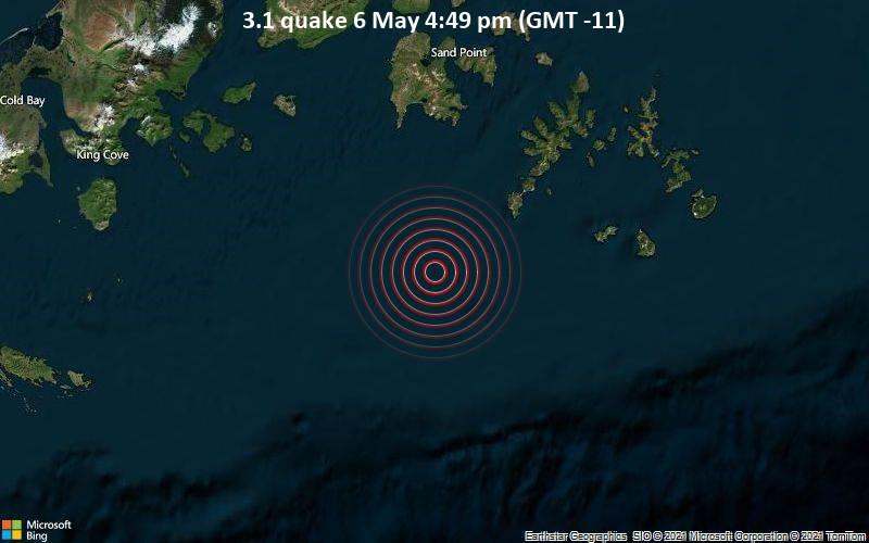 Schwaches Erdbeben Stärke 3.1 - Gulf of Alaska, 70 km südlich von Sand Point, Aleutians East, Alaska, USA, am Donnerstag,  6. Mai 2021 um 16:49 Lokalzeit