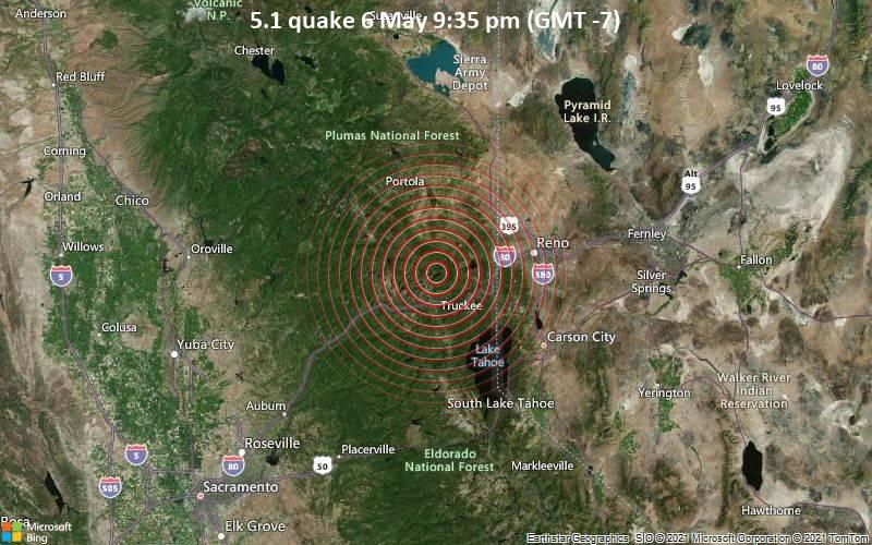 Starkes Magnitude 5.1 Erdbeben - 18 km nordwestlich von Truckee, Nevada County, Kalifornien, USA, am Freitag,  7. Mai 2021 um 04:35 GMT