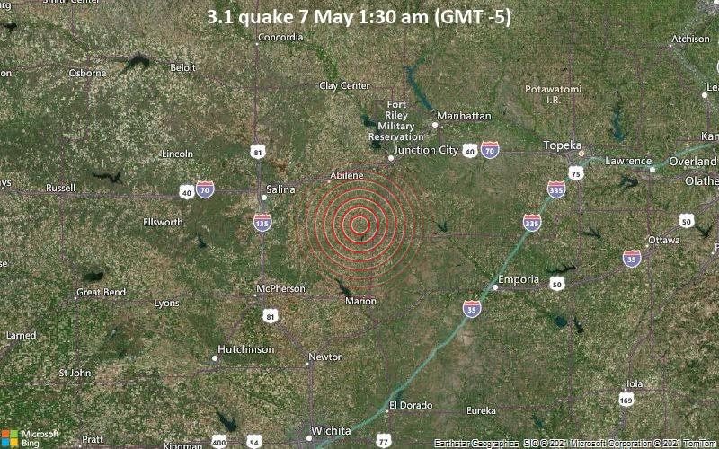 Leichtes Erdbeben der Stärke 3.1 - Dickinson County, 39 km südwestlich von Junction City, Geary County, Kansas, USA, am Freitag,  7. Mai 2021 um 01:30 Lokalzeit