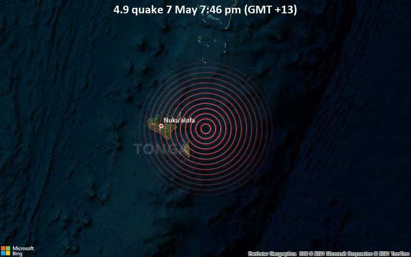 Leichtes Erdbeben der Stärke 4.9 - South Pacific Ocean, 49 km östlich von Nuku'alofa, Nuku'alofa, Tongatapu, am Freitag,  7. Mai 2021 um 06:46 GMT