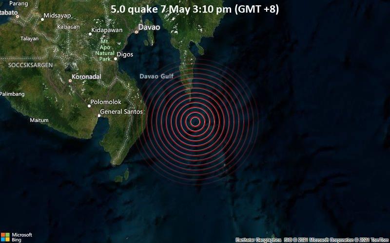 Moderates Erdbeben der Stärke 5.0 - Philippines Sea, 81 km südöstlich von Malita, Davao Occidental, Philippinen, am Freitag,  7. Mai 2021 um 07:10 GMT