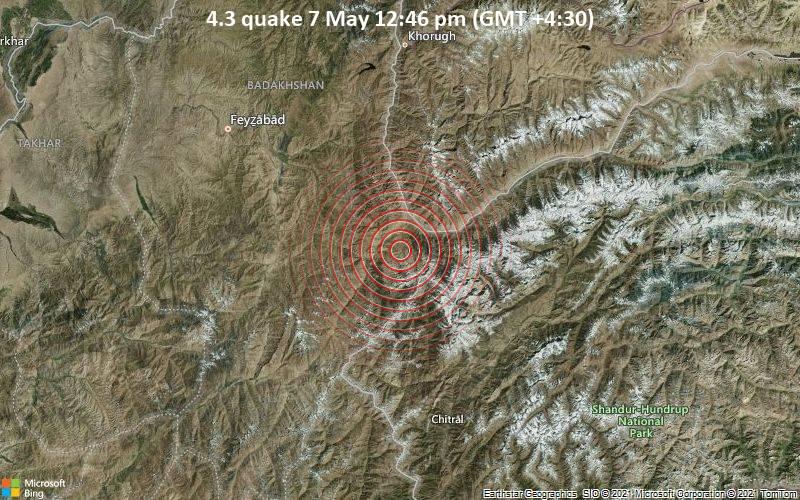 Moderates Erdbeben der Stärke 4.3 - Zebak, Afghanistan, 16 km südwestlich von Ishqoshim, Tadschikistan, am Freitag,  7. Mai 2021 um 12:46 Lokalzeit