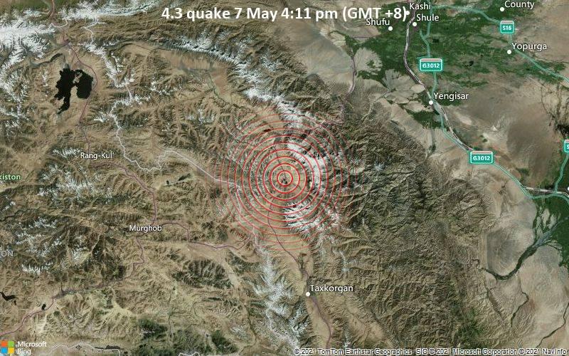 Leichtes Erdbeben der Stärke 4.3 - Xinjiang, 1 km östlich von Murghab, Gorno-Badakhshan, Tadschikistan, am Freitag,  7. Mai 2021 um 16:11 Lokalzeit