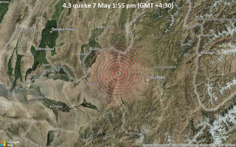 Leichtes Erdbeben der Stärke 4.3 - Rustāq, Takhar, 51 km westlich von Fayzabad, Afghanistan, am Freitag,  7. Mai 2021 um 13:55 Lokalzeit